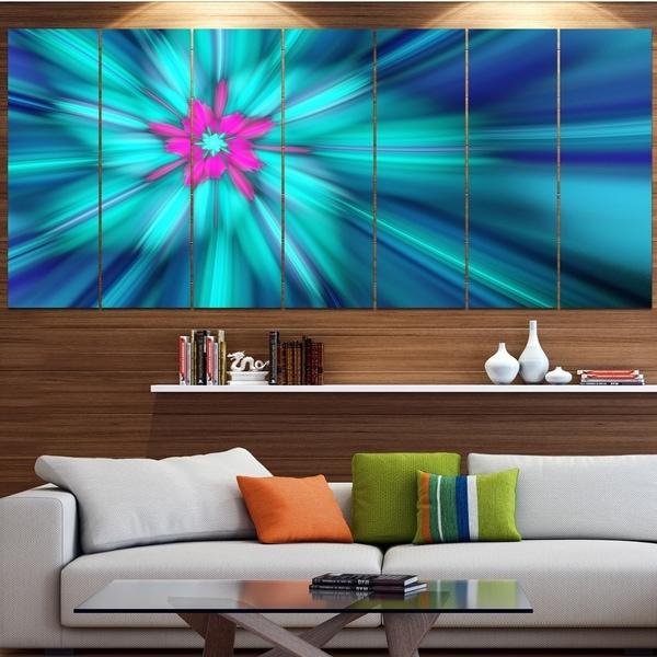 Designart 'Rotating Blue Fireworks' Floral Wall Art on Canvas