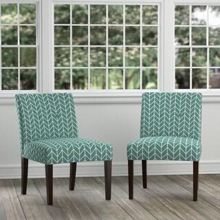 Handy Living Nunn Turquoise Blue Herringbone Set of 2 Armless Chairs