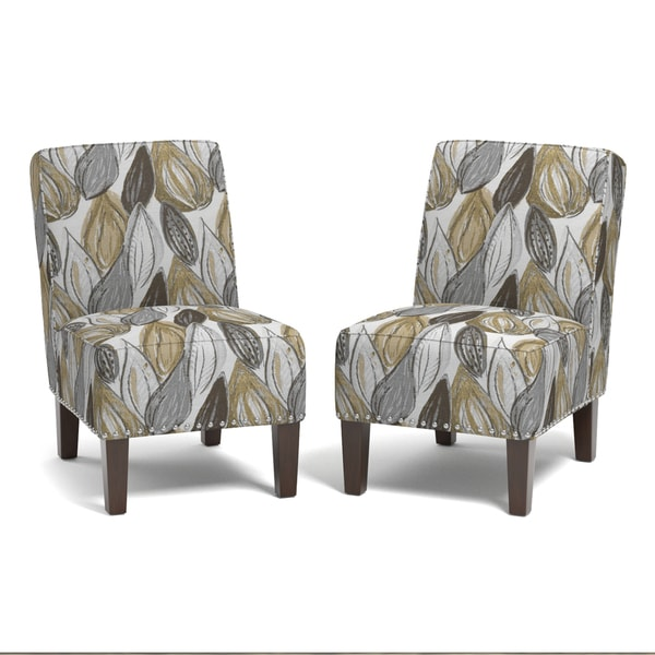 handy living brayden yellow leaf set of 2 armless chairs free