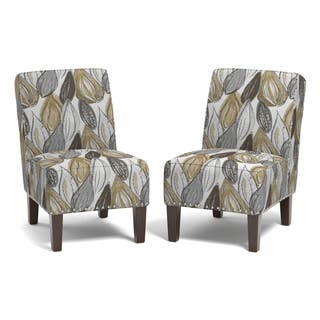 Copper Grove Genk Yellow Leaf Set of 2 Armless Chairs