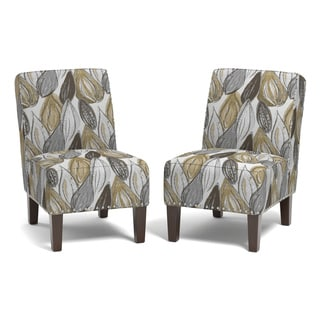 Handy Living Brayden Yellow Leaf Set Of 2 Armless Chairs