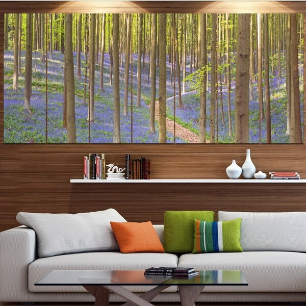 Designart 'Blooming Bluebell Forest Panorama' Landscape Wall Art on Canvas