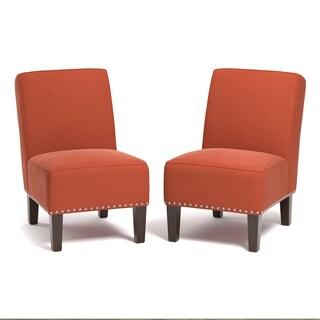 Copper Grove Genk Orange Velvet Armless Chairs (Set of 2)