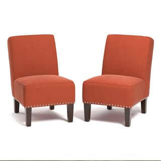 Handy Living Brayden Orange Velvet Armless Chairs (Set Of 2)