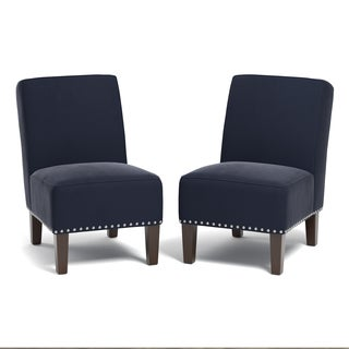 Handy Living Brayden Navy Blue Velvet Set of 2 Armless Chairs