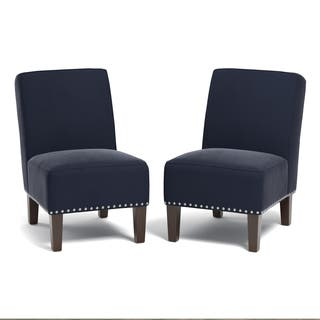 blue chairs for living room. Handy Living Brayden Navy Blue Velvet Set of 2 Armless Chairs Room For Less  Overstock com