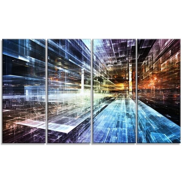Designart - Future Industry -4 Panels Abstract Canvas Artwork