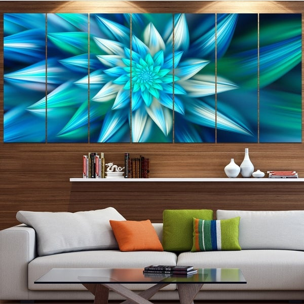 Designart 'Huge Blue Fractal Flower' Modern Floral Artwork