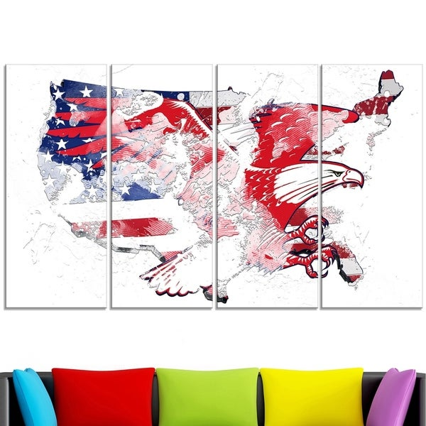Design Art 'American Eagle Map' Canvas Art