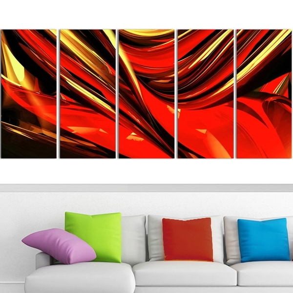Design Art 'Fire Lines Red Abstract' 60-inch x 28-inch Canvas Art Print