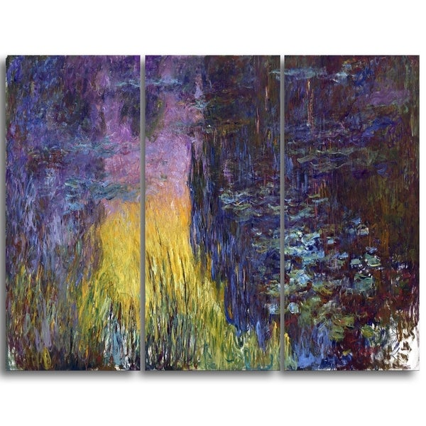 Design Art 'Claude Monet - The Water Lilies Setting Sun' Landscape Canvas Arwork