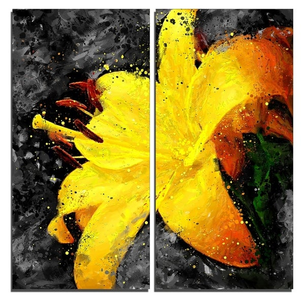 Design Art 'Yellow Lily' Floral Canvas Art Print
