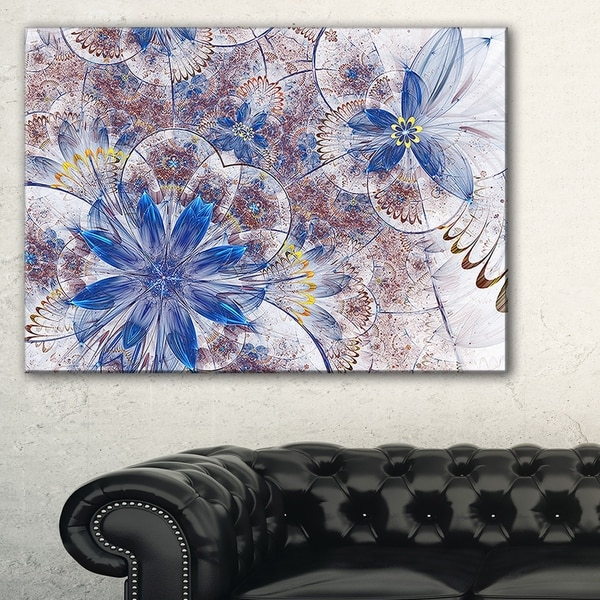 Blue Brown Grungy Floral Shapes - Large Floral Wall Art Canvas