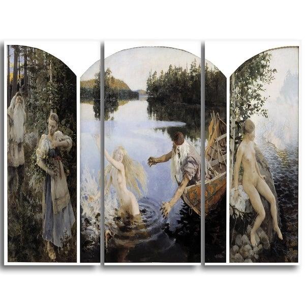 Design Art 'Akseli Gallen-Kalela - Aino Myth, Triptych' Canvas Art Print - 36Wx28H Inches - 3 Panels