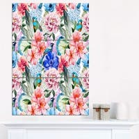 Colorful Flowers and Birds Watercolor - Large Flower Canvas Wall Art