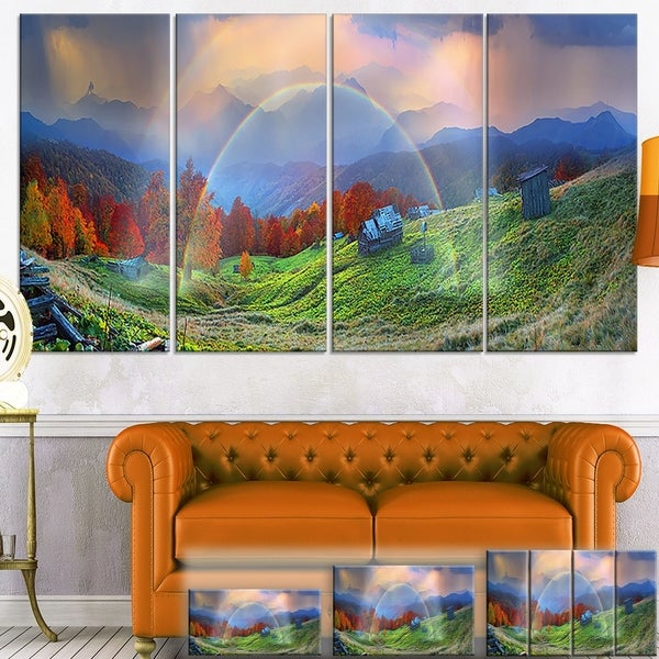 Huts Over Autumn Mountains - Landscape Large Wall Art