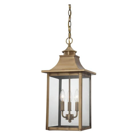 Acclaim Lighting St. Charles Collection Hanging Lantern 3-Light Outdoor Aged Brass Light Fixture