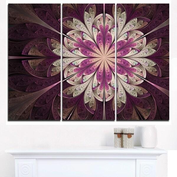 White Purple Rounded Fractal Flower - Large Floral Canvas Art Print