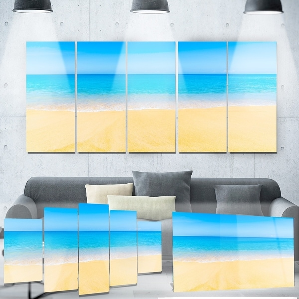 Designart \'Calm Blue Sea and Sky\' Seascape Photo Metal Wall Art ...