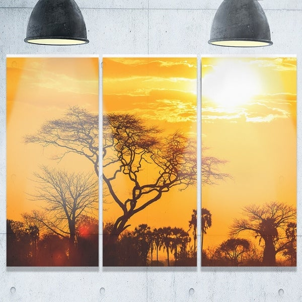 Orange Glow of African Sunset - Extra Large Glossy Metal Wall Art ...