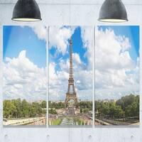 Designart - Panoramic Paris Eiffel Tower under Clouds - Cityscape Glossy Metal Wall Art - 36W x 28H 3 Panel