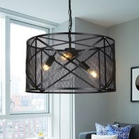 Mindor 20-Inch Black Mesh 3-Light Pendant includes Edison Bulbs