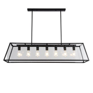 Sheriz 47-Inch Black Metal and Glass 7-light Chandelier Includes Edison Bulbs