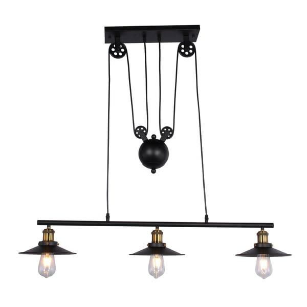 Darleen 3-light Black 42-inch Chandelier includes Edison Bulbs