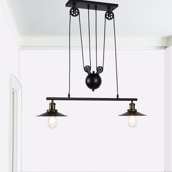 Darleen 2-light Black 28-inch Pendant Lamp includes Edison Bulbs