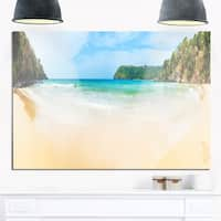 Exotic Vacation Seashore Panorama - Modern Seascape Glossy Metal Wall Art