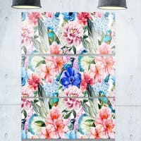 Colorful Flowers and Birds Watercolor - Flower Large Metal Wall Art - 36Wx28H - 28W x 36H 3 Panel