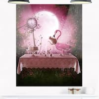 Fantasy Garden with a Flamingo - Modern Landscape Glossy Metal Wall Art