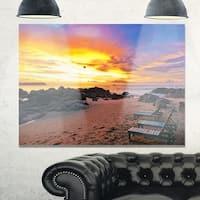 Khao Lak Beach View at Sunset - Modern Seashore Glossy Metal Wall Art