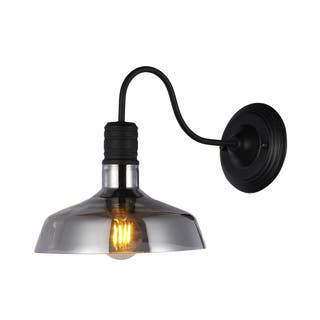 Grey shade colored glass wall lights for less overstock salvin black metal 1 light wall sconce wtih 10 inch smoked glass shade includes aloadofball Gallery