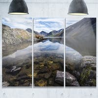 Wast Water with Reflection in Lake - Landscape Glossy Metal Wall Art - 36Wx28H - 36W x 28H 3 Panel