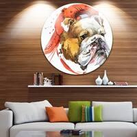 Designart 'Bulldog Illustration Art' Animal Glossy Metal Wall Art
