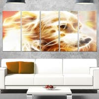 Designart 'Glowing Brown Dog Head' Large Animal Glossy Metal Wall Art
