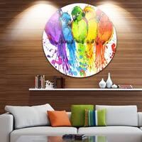 Designart 'Colorful Parrots Illustration' Animal Glossy Metal Wall Art