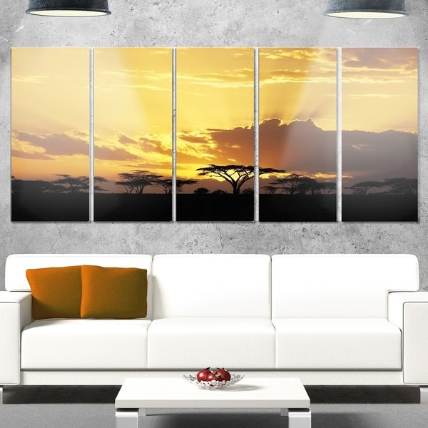 Designart \'Sunset in Africa with Acacia Tree\' Extra Large Landscape ...