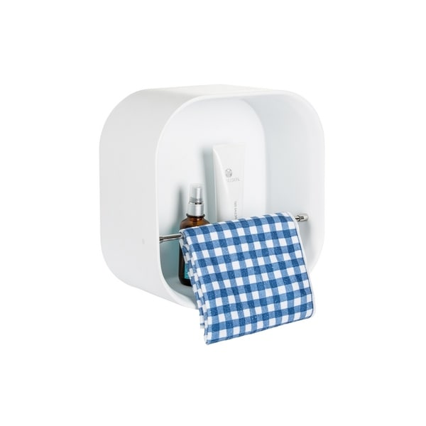 """12"""" Stone Resin Solid Surface Matte White Finish BathroomWall Shelf with Towel Rack"""