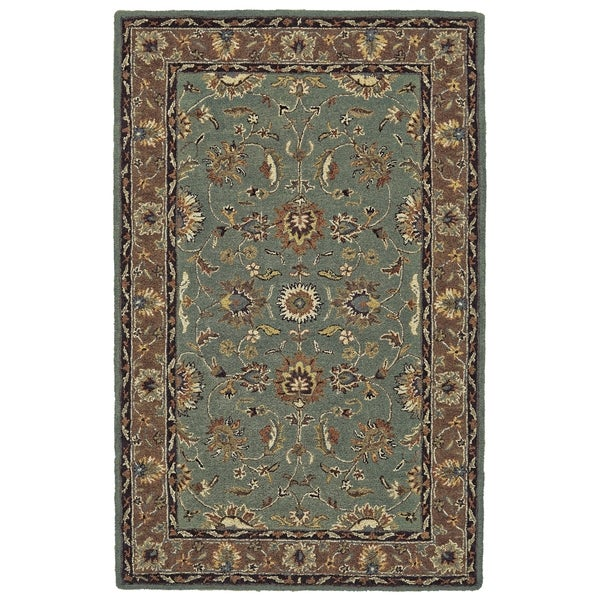 "Grand Bazaar Hadfield Light Blue/ Brown 3'6"" X 5'6"" Wool Rug - 3'6"" x 5'6"""