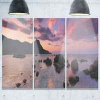 Rocky Colorful Beach Panorama - Modern Seashore Metal Wall At - 36Wx28H