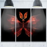 Red Fractal Butterfly in Dark - Abstract Glossy Metal Wall Art - 36Wx28H