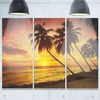 Designart - Barbados Island Evening Seashore - Modern Seascape Glossy Metal Wall Art