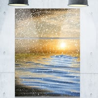 Designart - Clouds with Reflection in Water - Seashore Photo Glossy Metal Wall Art