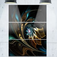 Brown Blue Fractal Flower in Black - Oversized Abstract Glossy Metal Wall Art