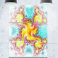 Glowing Golden Fractal Flower - Large Abstract Glossy Metal Wall Art