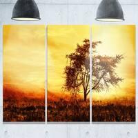 Designart - African Tree Silhouette - Landscape Photo Glossy Metal Wall Art