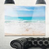 White Waves Kissing Beach Sand - Large Seashore Glossy Metal Wall Art