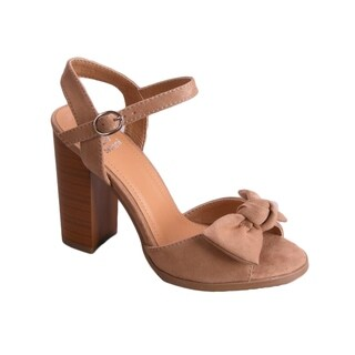 BETANI EL81 Women's Bow Ankle Buckle Strap Chunky Stacked Heel Sandals